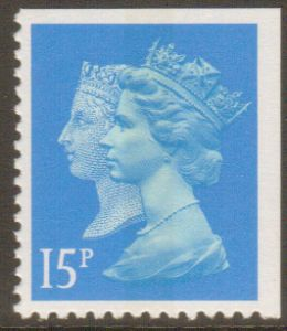 SG1475 15p Centre Band Double Head Machin Stamp Walsall Print Imperf at Top & Right